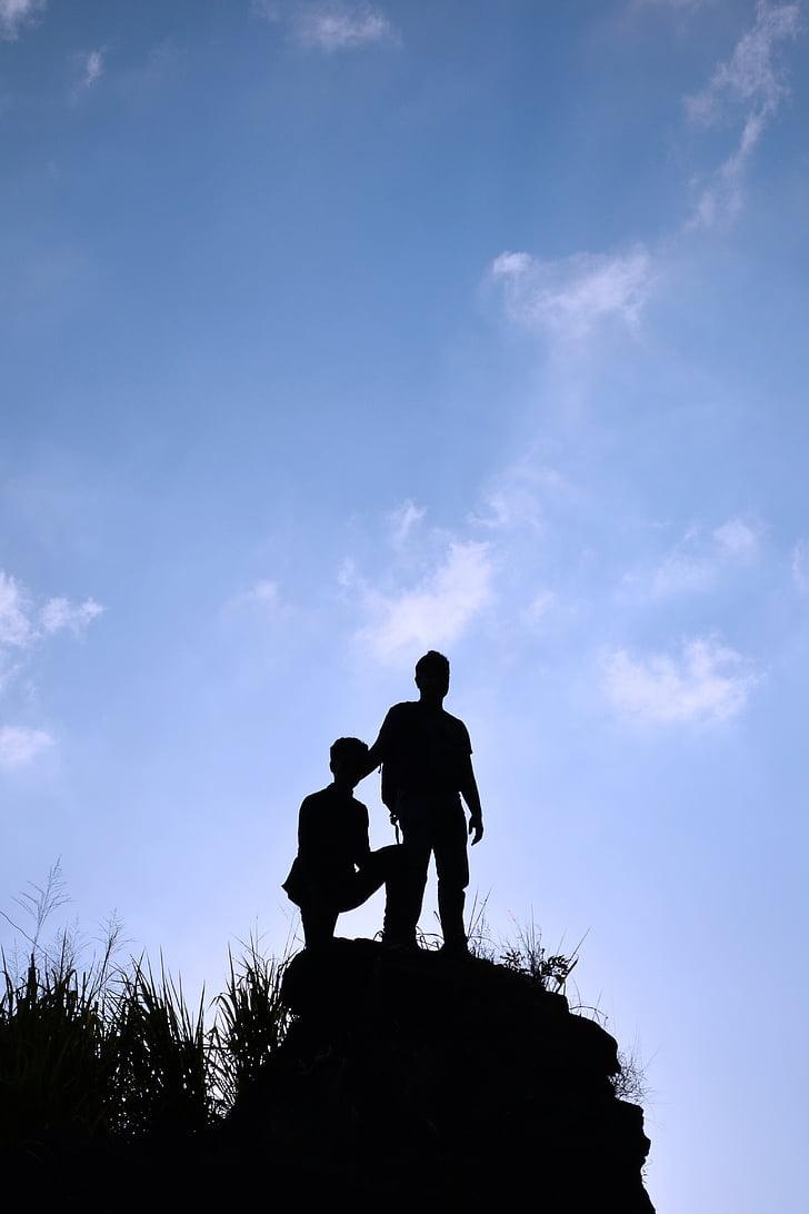 du, žmogaus, nuolatinio, mėlyna, dangus, dienos, siluetas