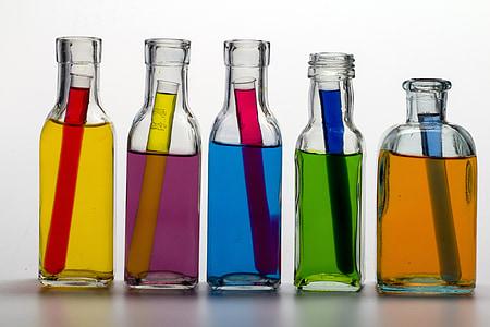Stilleven, flessen, Kleur, gekleurde water, reageerbuisjes, Farbenspiel