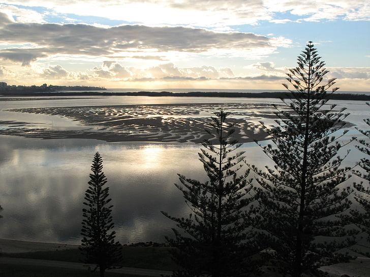 soluppgång, stranden, lågvatten, morgon, Sunrise beach, semester, fredliga