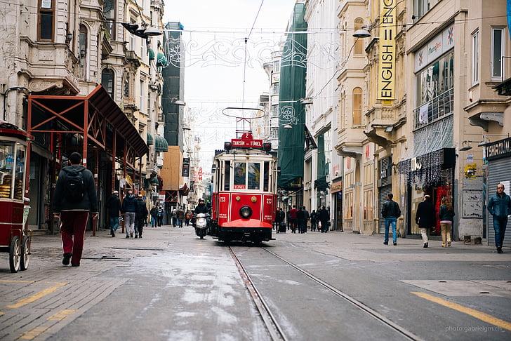 tramvia, carrer, urbà, ciutat, carrer de la ciutat, transport, persones addicionals