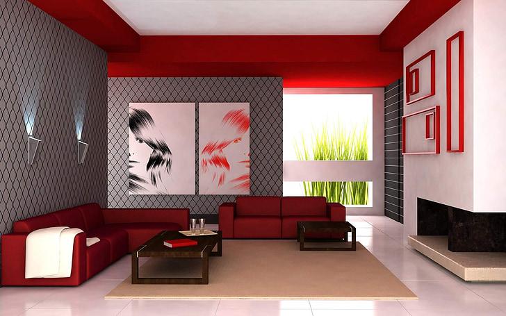 dzīvojamā istaba, dzīvoklis, sarkana, balta, interjera dizains, mēbeles, mūsdienu