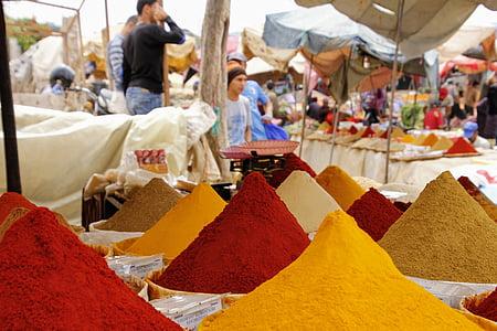 thị trường, gia vị, phương đông, màu sắc, dinh dưỡng, thực phẩm, gian hàng thị trường