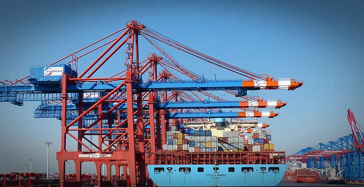 集装箱龙门起重机, 集装箱, 集装箱装卸, 端口, 货物, 汉堡港, 货船