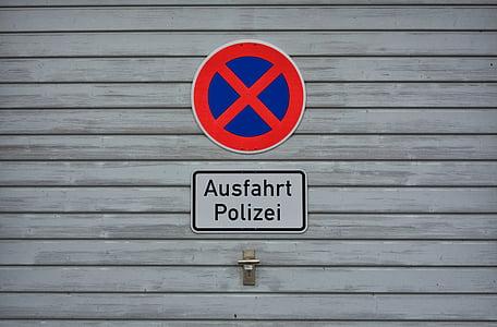 absoluuttinen pysäyttäminen, kilpi, ei pysäköinti, poliisi, liikennemerkki, liikennemerkki, pysäyttäminen