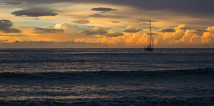sunset, sea, horizon, landscape, boat on the sea, boats, sky