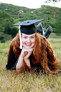 graduation, graduate, cap, graduation cap, tassel, student, happy