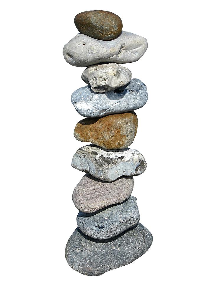 equilibri, meditació, pedres, Torre, apilada, aïllats, relaxar-se