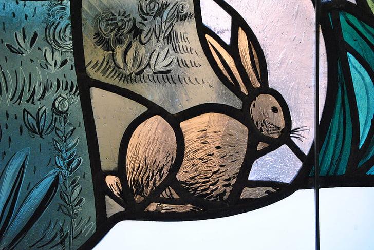 finestra de vidre, Llebre, Setmana Santa, vidre de color, dibuix, vidre, finestra
