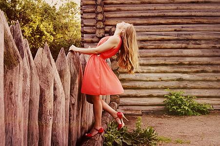 kleit, Tüdruk, Kaunis, naine, käed, mood, emane