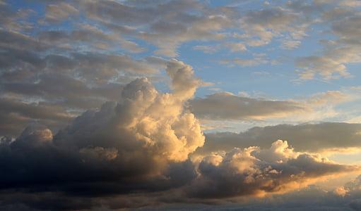 일몰, 태양, 태양 열, abendstimmung, 저녁 하늘, 석양, 구름