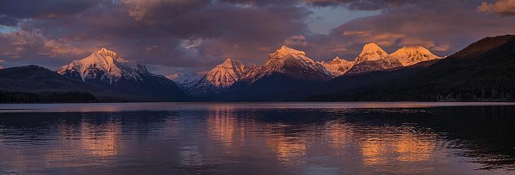 posta de sol, paisatge, escèniques, natura, Llac mcdonald, Glacera del parc nacional, Montana