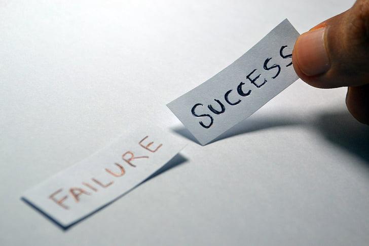èxit, fracàs, contrari, elecció, triar, decisió, positiu
