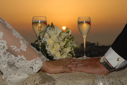 matrimoni, posta de sol, casament, l'amor, cònjuges, cors, Romanç