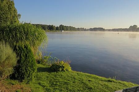 Llac, boira, paisatge, natura, l'aigua