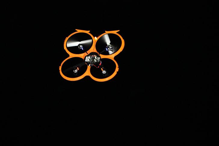drone, flight, at night, fly, rotor, aircraft