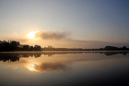losheimer δεξαμενή, σιωπηλή λίμνη, Ήλιος το πρωί, φύση, το πρωί, Λίμνη, ακόμα