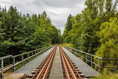 gleise, bridge, ore mountains, train, railway, seemed, rail traffic
