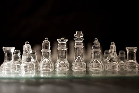 chess pieces, glass, chessboard, game, strategy, board, pawn