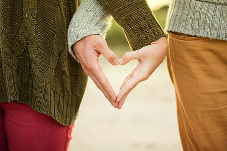 couple, hand sign, hands, heart, love, people, sweater