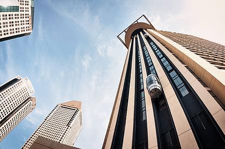 arsitektur, pencakar langit, CBD, lebar, distrik pusat, struktur yang dibangun, modern