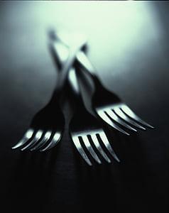 forquilles, coberts, plats, metall, brillant, coberteria, menjar