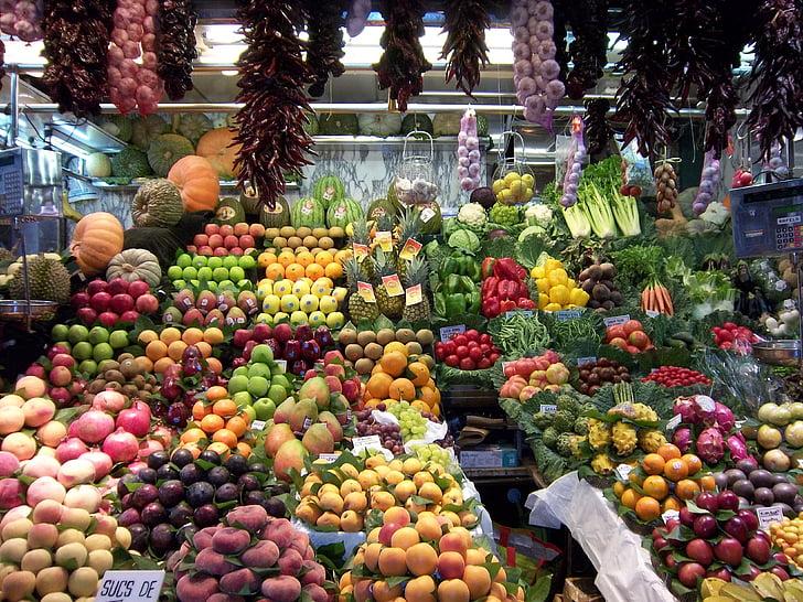 рынок, Барселона, фрукты