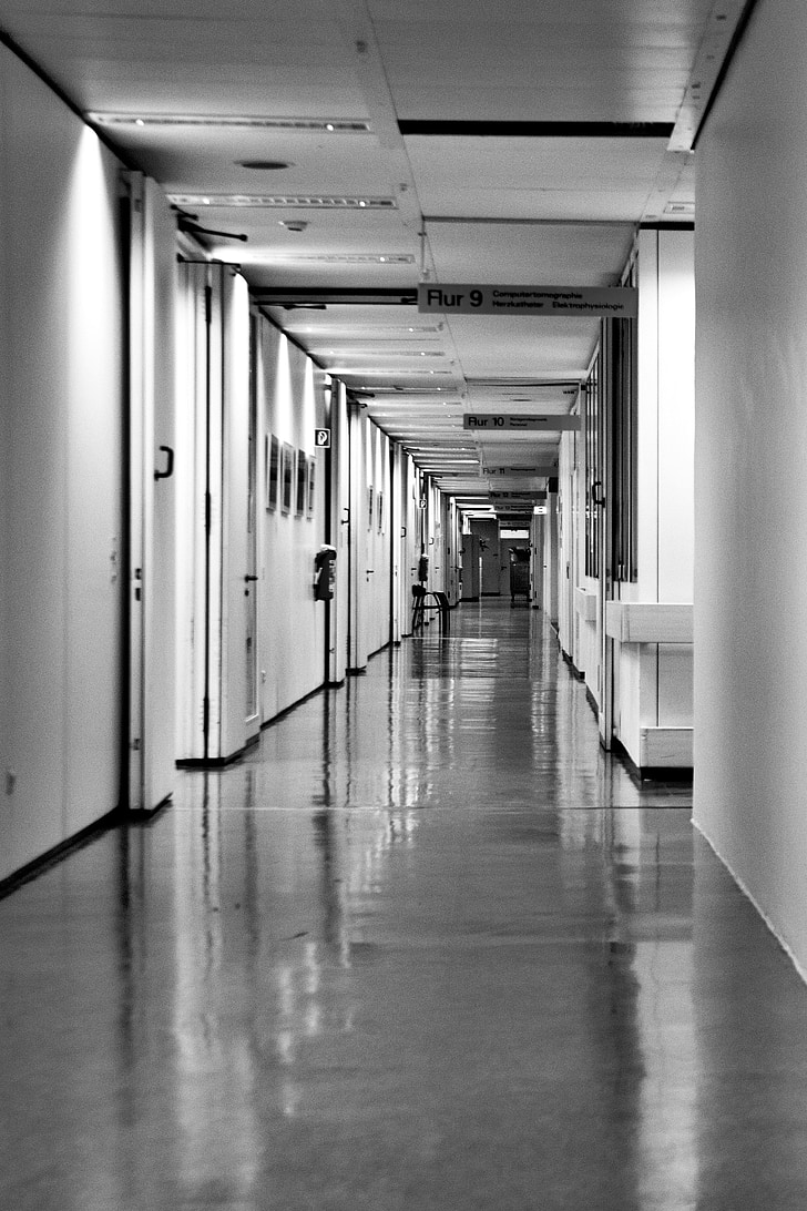 Hospital, Hospital korridor, lang korridor, korridor, indendørs, arkitektur, Tom