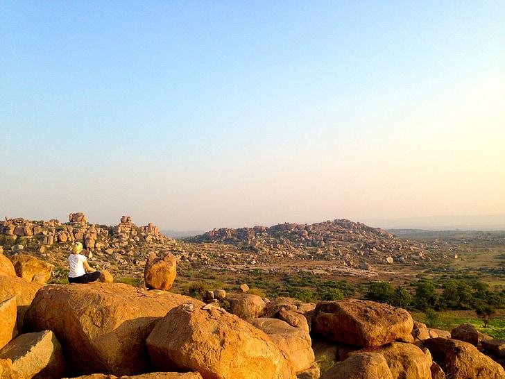 瞑想, ヨガ, ハンピ, インド, 旅行, サンセット, 健康