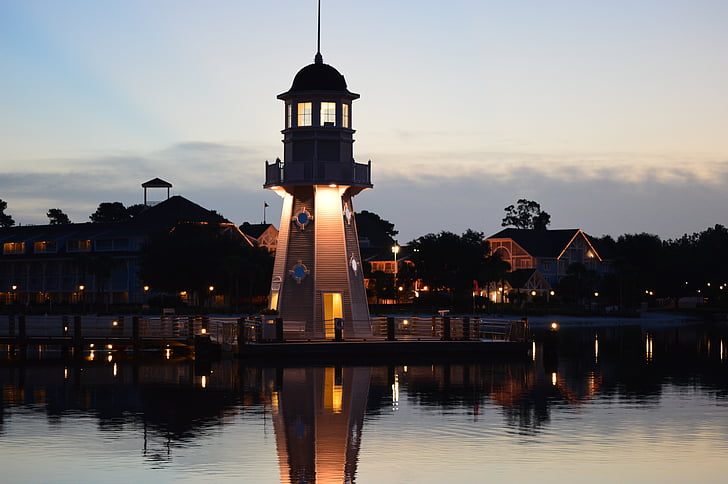 Lighthouse, Dawn, Tower, Beach, vee, Sea, majakas