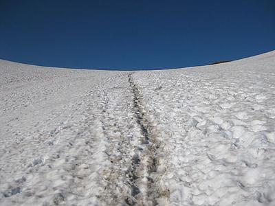 traces, mountains, snowy landscape, winter, alps, winter landscape, landscape snow