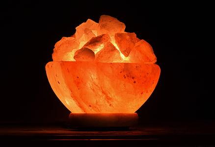 valgus, öö valgus, soola kristallid, soola kristall lamp, kristallid, kivi, oranži värvi