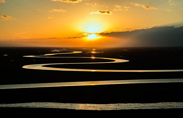 Prairie, soluppgång, landskap