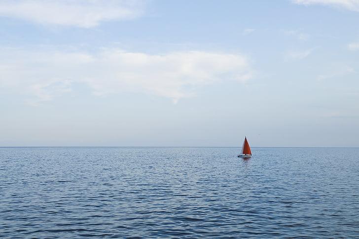 човен, горизонт, океан, Вітрильник, солона вода, море, Морська вода