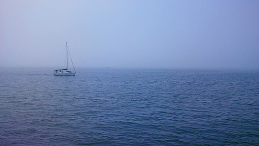 boat, foggy, isolated, lake, misty, ocean, sailing