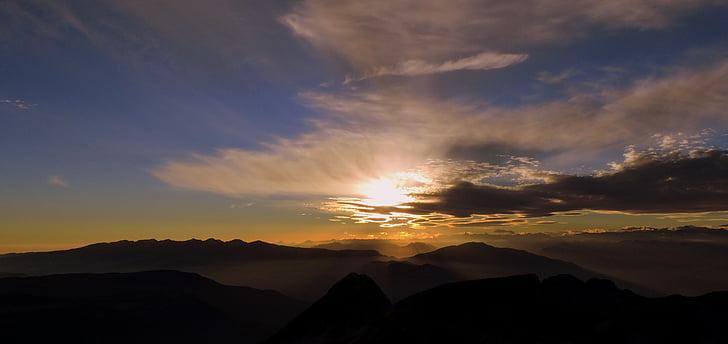 solnedgång, Mountain, Carega, Sky, molnet, Italien, Twilight