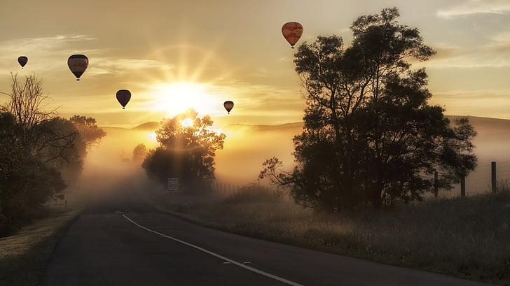ilmapallo, kuumaa ilmaa, maisema, Kuumailmapallo, taivas, lento, kuljetus