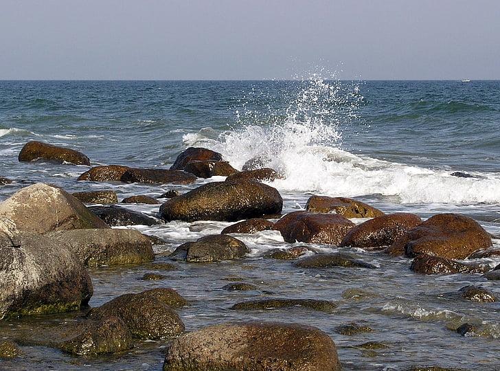 Balti-tenger, Rügen, Bank, víz, hullám, spray, kövek