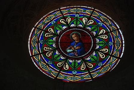 vetro macchiato, vetro, Chiesa, religione, luce, finestra, Colore