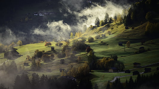 landscape, autumn, fog, village, twilight, afternoon, no people