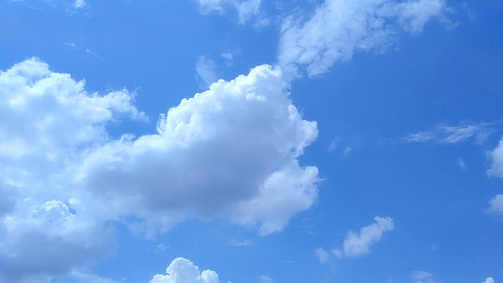 oblaky, modrá obloha, modrá obloha oblaky, nadýchané, scéna, neba, letné