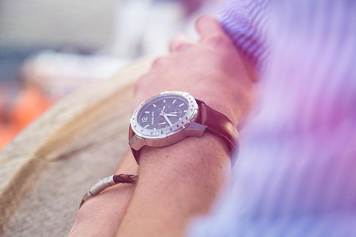 mà, canell, veure, moda, entelar, homes, rellotge
