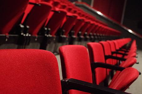 teātris, sēdekļi, sarkana, kultūra