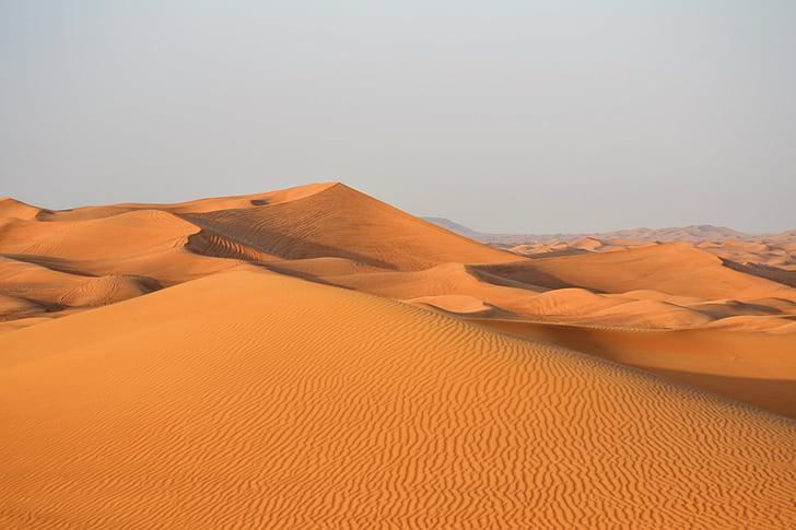 Dubai, pustinja, pijesak, Emirati, Arabija, Dina, suha
