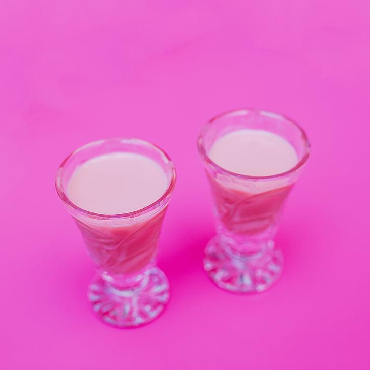 two, shot, glasses, filled, beige, liquids, pink