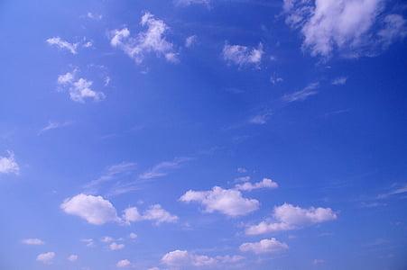oblaki, nebo, modra, oblačno, poletje, toplo, svetlobe