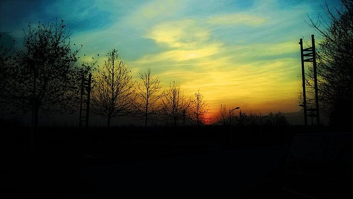 twilight, sunset, the scenery