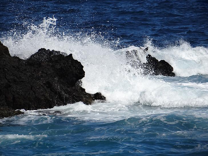 ona, Mar, oceà, tempesta, esprai, Roca, onada d'aigua