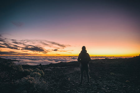 clouds, nature, person, sea of clouds, sky, sunset, silhouette