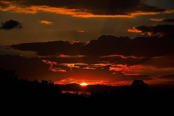 Sunrise, Dawn, Sunset, Dusk, tume, Punane päike, Daybreak