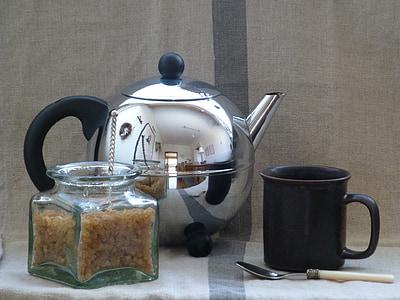 t, pote, chá, Copa, ainda vida, bule de chá, chá - quente bebida